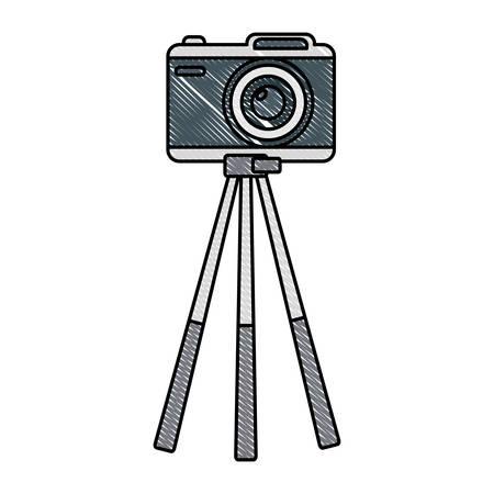 Camera on tripod icon over white background, colorful design vector illustration.