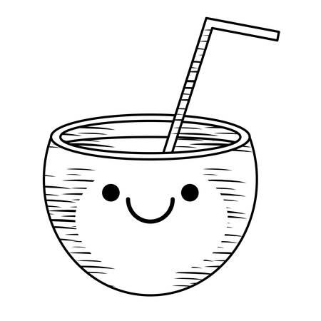 Sketch of Kawaii happy cocktail icon over white background, vector illustration