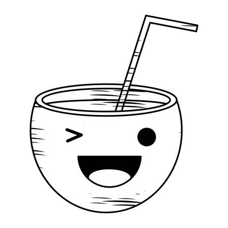 Sketch of Kawaii cocktail winking an eye over white background, vector illustration Vectores