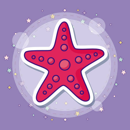 Sea star icon with colorful stars over purple background, vector illustration