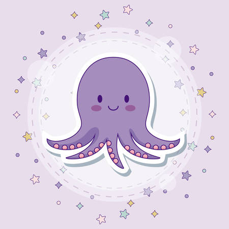 octopus icon with stars around over purple background, colorful design. vector illustration Illustration