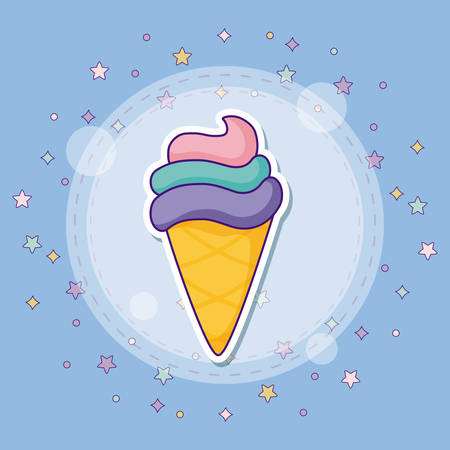 icon set of summer and cute concept over purple background, colorful design. vector illustration