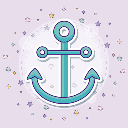 anchor icon with colorful stars over purple background, vector illustration