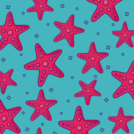 Sea stars background, colorful design. vector illustration