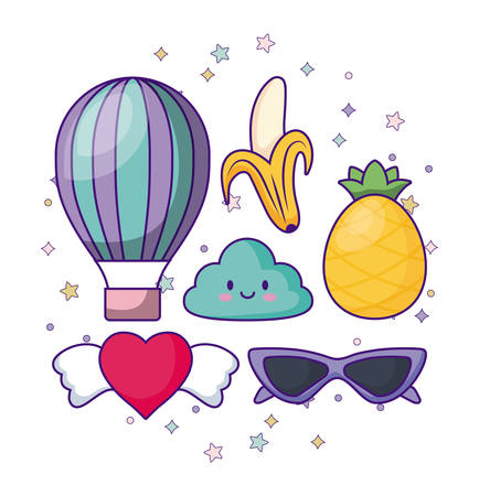 cloud and cute related icons with stars around over white background, colorful design. vector illustration