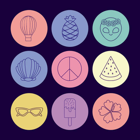 Icon set of hot air balloon and cute concept over colorful circles and blue background, vector illustration Illustration