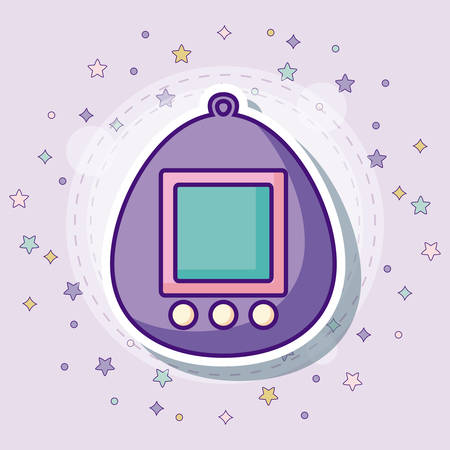 Tamagotchi icon with colorful stars over purple background, vector illustration Illustration