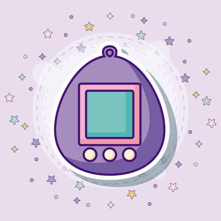 Tamagotchi icon with colorful stars over purple background, vector illustration Illusztráció