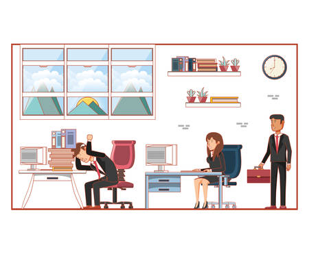 Business people avatars with work time elements vector illustration 일러스트