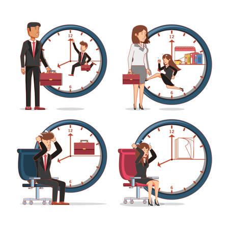 les gens d & # 39 ; affaires avatars avec des éléments de travail vecteur illustration Vecteurs