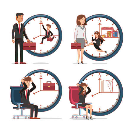 Business people avatars with work time elements vector illustration Illustration
