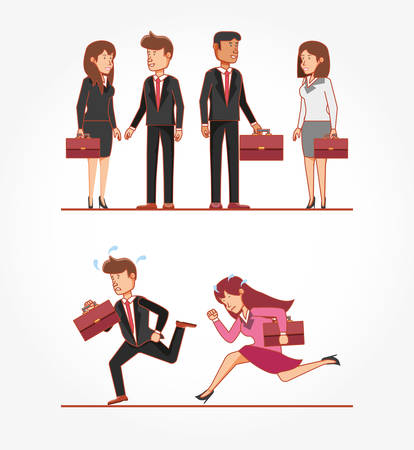 Business people avatars with work time elements vector illustration Çizim