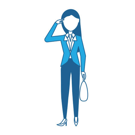 Avatar businesswoman standing and holding a briefcase over white background, blue shading design. vector illustration