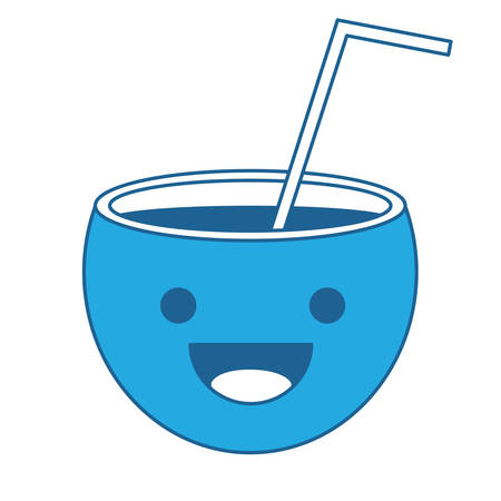 happy cocktail icon over white background, blue shading design. vector illustration