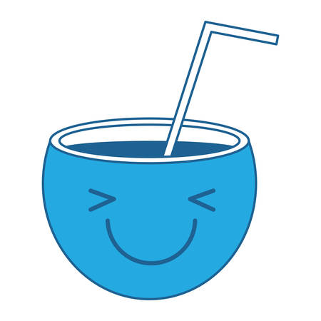 Kawaii excited cocktail icon over white background, blue shading design. vector illustration. Vectores