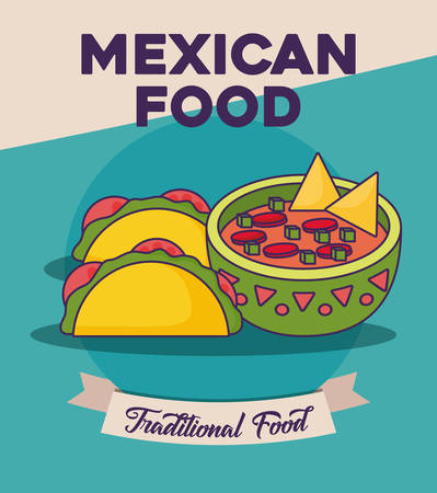 Mexican food design with racos and sauce bowl over blue background, colorful design. vector illustration Vettoriali