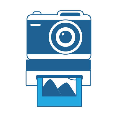 instant camera icon over white background, blue shading design. vector illustration  イラスト・ベクター素材
