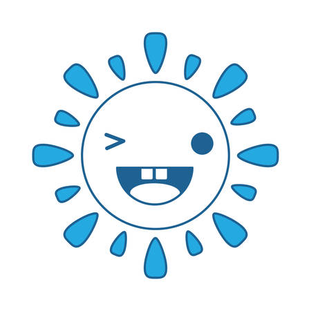 Kawaii sun winking an eye over white background, blue shading design. vector illustration.