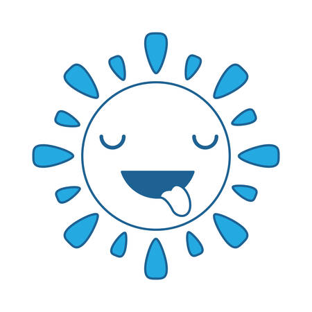 kawaii sun showing the tongue over white background, blue shading design. vector illustration.