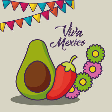 Viva Mexico design with avocado and red chili over white background, colorful design. vector illustration