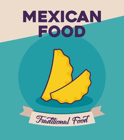 Mexican food design with empanada over blue background, colorful design. Vector illustration. Illustration