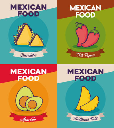 Icon set of Mexican food concept over colorful background, vector illustration.