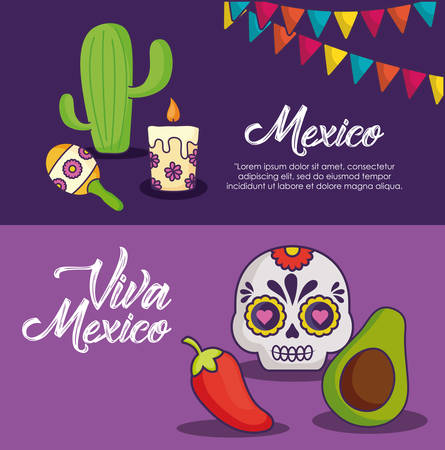Info-graphic of viva mexico concept with cactus and avocado over purple background, colorful design. Vector illustration.
