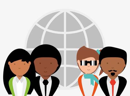 Cartoon businesspeople over global network sphere over white background, colorful design. vector illustration Illustration