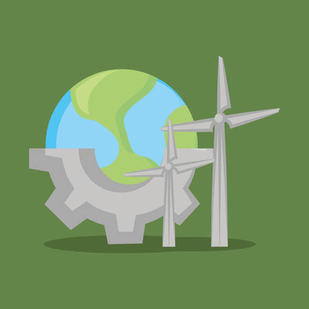 earth planet and eolic turbines over green background, colorful design. vector illustration