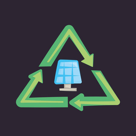 recycle symbol with solar panel icon over black background, colorful design. vector illustration