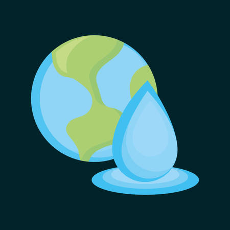 earth planet and water drop over blue background, colorful design. vector illustration