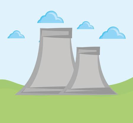 nuclear plant over landscape background, colorful design. vector illustration