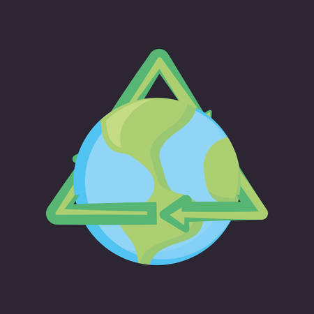 earth planet with recycle symbol over black background, colorful design. vector illustration Illustration