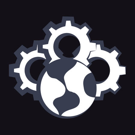 earth planet and gear wheels over black background, vector illustration
