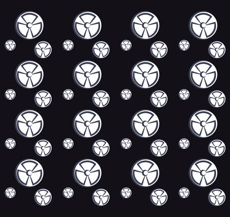 nuclear symbols background, black and white design. vector illustration