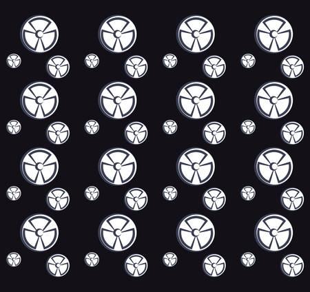 nuclear symbols background, black and white design. vector illustration