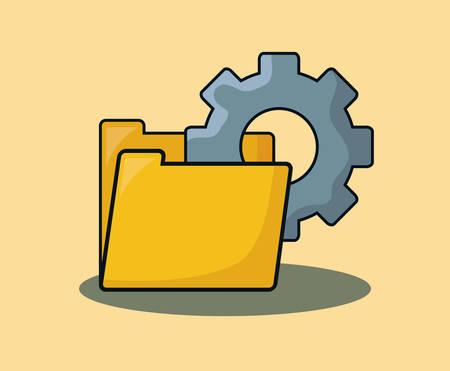 document folder with gear wheel over orange background, colorful design. vector illustration