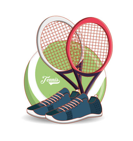racket and shoes to play tennis sport vector illustration design
