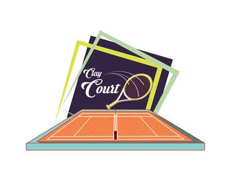 courts of tennis sport with racket vector illustration design Illustration