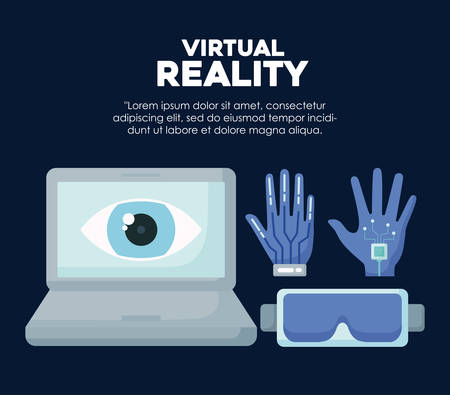 Infographic design of Virtual reality concept over blue background, colorful design. vector illustration Çizim