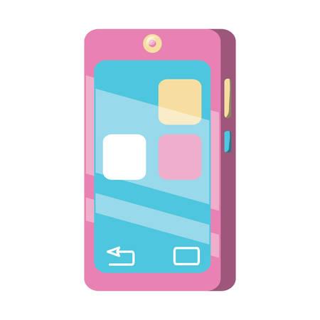 A smartphone device icon over white background, colorful design. vector illustration