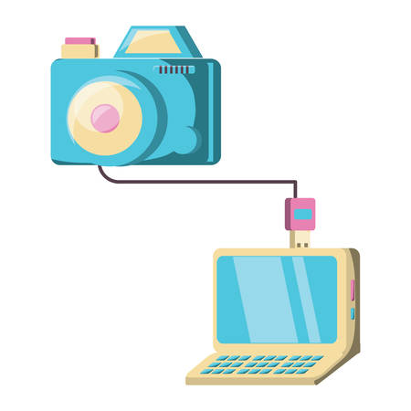Camera plugged into a laptop over white background, colorful design. vector illustration