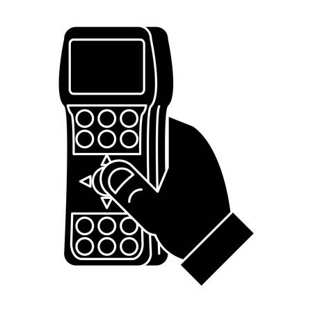 hand with tv remote control icon over white background, vector illustration Stock Illustratie