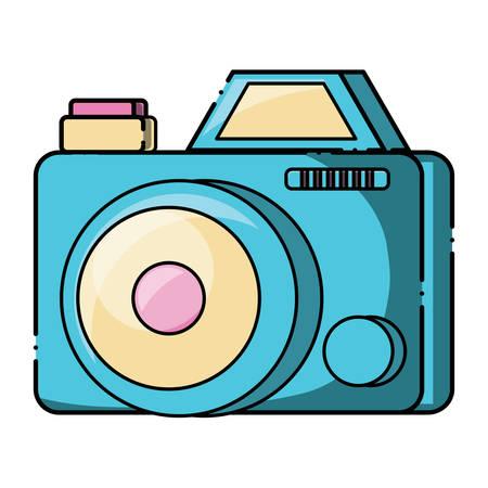 Photographic camera over white background, colorful design. Illustration