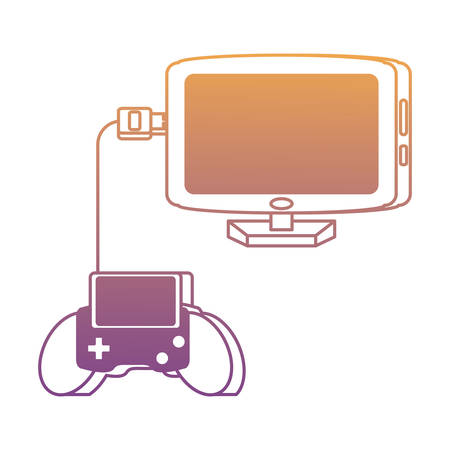 portable videogame connected to computer over white background, vector illustration