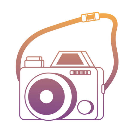 photographic camera with strap over white background, colorful design. vector illustration Illustration