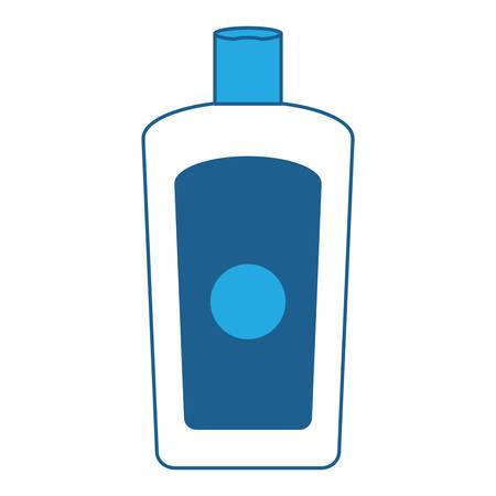 Sunblock bottle icon over white background, blue shading design. vector illustration