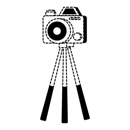 tripod with photographic camera over white background, vector illustration