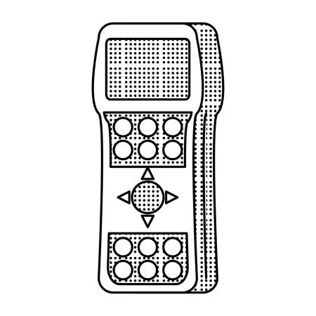 sketch of Tv remote control icon over white background, vector illustration