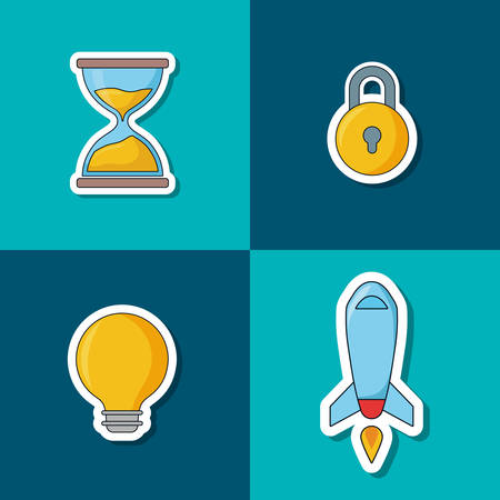 icon set of seo concept, over colorful squares, vector illustration